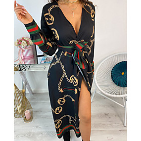 cheap -Women's Wrap Dress Midi Dress White Black Orange Dusty Blue Long Sleeve Print Patchwork Print Fall Spring V Neck Casual 2021 S M L XL XXL / Plus Size