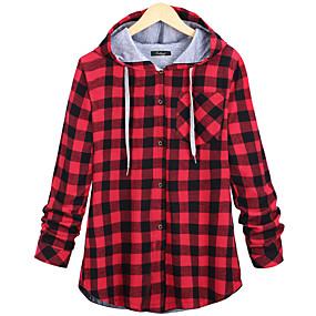 cheap -Women's Blouse Shirt Check Long Sleeve Cowl Neck Tops Basic Top Blue Red Green