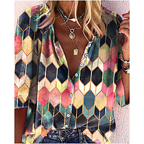 cheap -Women's Blouse Shirt Floral Plaid Graphic Prints Long Sleeve Print Round Neck Tops Casual Basic Basic Top Blue / Green White Green
