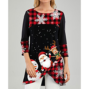 cheap -Women's Tunic Graphic Prints Print Round Neck Tops Christmas Basic Top Black