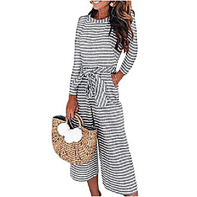 cheap -womens long sleeve striped romper jumpsuits, belted waist wide leg overalls with pockets (large, gray)