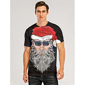 preiswerte -Herren T-Shirt 3D-Druck Grafik 3D Druck Kurzarm Weihnachten Oberteile Schwarz / Gray