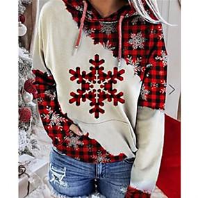 preiswerte -Damen Pullover Hoodie Sweatshirt Grafik Weihnachten Freizeit Kapuzenpullover Sweatshirts Lose Weiß Rote