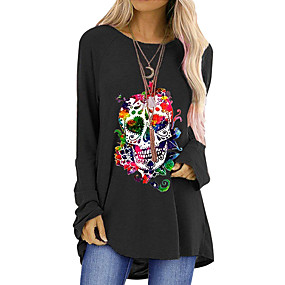 cheap -Women's Halloween T-shirt Graphic Prints Long Sleeve Round Neck Tops Halloween Basic Top Black Blue Red