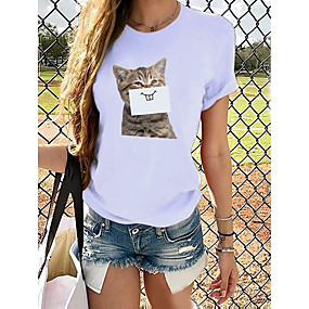 cheap -Women's T-shirt Butterfly Graphic Prints Round Neck Tops Loose 100% Cotton Basic Top Cat White Purple