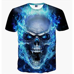 preiswerte -Herren T-Shirt Grafik Totenkopf Motiv Druck Kurzarm Alltag Oberteile Grundlegend Blau