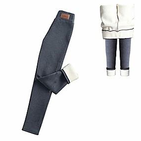 cheap -women warm fleece lined winter pant elastic high waist sweatpants trousers winter leggings(m) gray