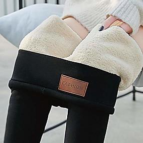 cheap -Women's Tights / Leggings Daily Tights Leggings Pants Solid Color Full Length Lamb wool leggings (kitten) Lamb cashmere leggings (leather label) / Winter