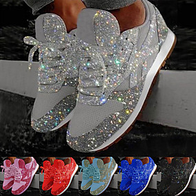 cheap -Women's Trainers Athletic Shoes Sneakers Sequins Bling Bling Sneakers Silver Flat Heel Round Toe Sporty Casual Daily Outdoor Tennis Shoes Walking Shoes Mesh Sequin Color Block Solid Colored Black Red