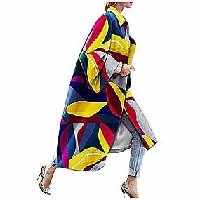 preiswerte -Vintage Baumwolle Leinen Vintage Blumendruck leichte Trenchcoat lange Jacke Robe mit Taschen