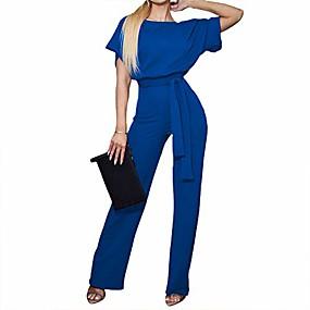 cheap -Women's Casual 2021 Apricot 1 Black Blue Jumpsuit Solid Color