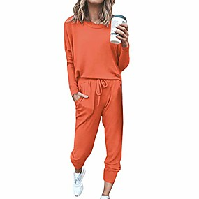 cheap -two piece outfit sweatsuits sexy women tracksuits crewneck tops long pants orange xxl