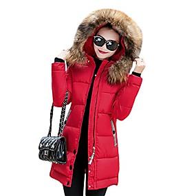 cheap -women's winter warm down coat faux fur hooded parka puffer jacket long overcoat medium red