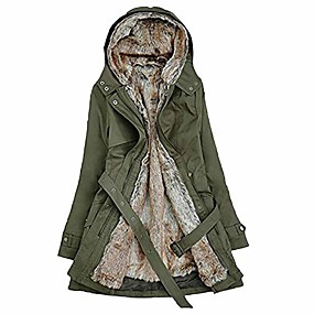 cheap -ladies fur lining coat women winter warm thick long jacket hooded parka green
