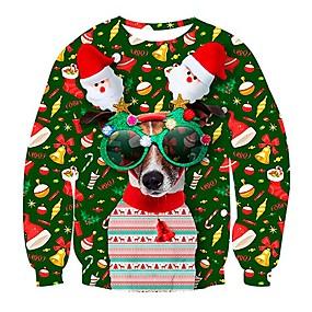preiswerte -Herren Pullover Sweatshirt Hund Tier gemustert 3D Rundhalsausschnitt Weihnachten 3D-Druck Freizeit Weihnachten Kapuzenpullover Sweatshirts Langarm Schwarz Rote Grün