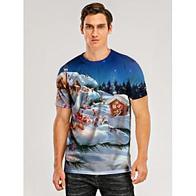 preiswerte -Herren T-Shirt 3D-Druck Grafik 3D Druck Kurzarm Weihnachten Oberteile Blau