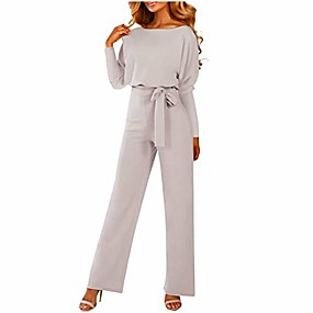 cheap -women's casual loose long sleeve belted wide leg high waist pant romper jumpsuits