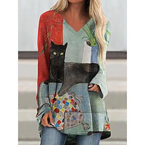 cheap -Women's Shift Dress Short Mini Dress Long Sleeve Cat Color Block Animal Patchwork Print Fall Casual 2021 Blue M L XL XXL 3XL