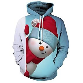 preiswerte -Herren Pullover Hoodie Sweatshirt Grafik 3D Hässliche Weihnachten Mit Kapuze Weihnachten 3D-Druck Freizeit Weihnachten Kapuzenpullover Sweatshirts Langarm Lose Blau / Tier