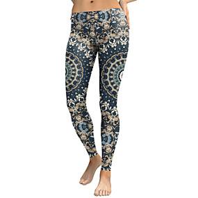 cheap -Women's Sporty Comfort Skinny Gym Yoga Leggings Pants Patterned Ankle-Length High Waist Royal Blue