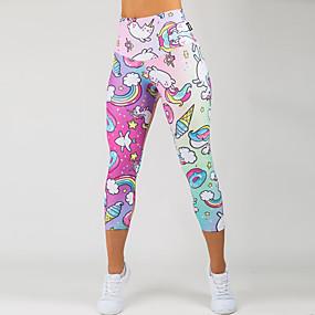 cheap -Women's Sporty Comfort Gym Yoga Leggings Pants Patterned Calf-Length Print Blushing Pink