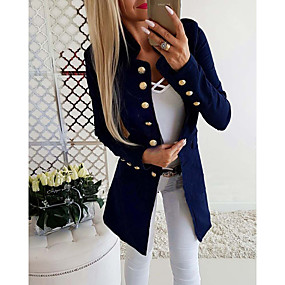 cheap -Women's Jacket Solid Colored Slim Chic & Modern Long Sleeve Coat Fall Spring Daily Wear Long Jacket Gray / Stand Collar / Work