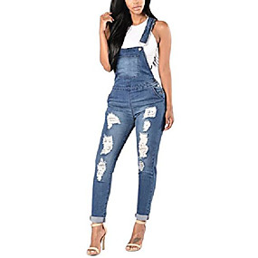 cheap -women's blue denim stretch jeans destroy skinny ripped distressed straps bodysuit jumpsuits romper with pocket