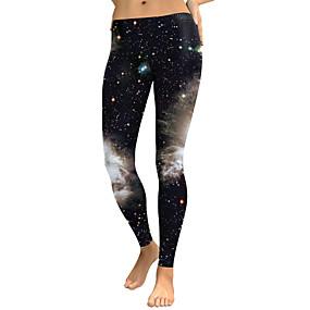preiswerte -Damen Sport Comfort Skinny Fitnessstudio Yoga Leggins Hose Galaxis In voller Länge Druck Hohe Taillenlinie Schwarz