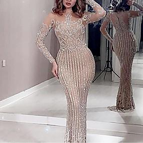 cheap -Women's Trumpet / Mermaid Dress Maxi long Dress - Long Sleeve Solid Color Sequins Patchwork Fall Elegant Sexy Party Slim 2020 White S M L XL XXL