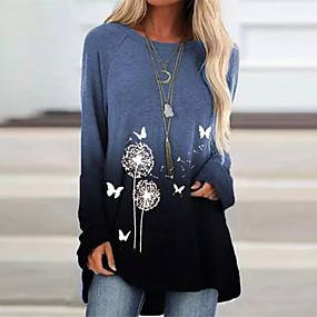 cheap -Women's Swing Dress Short Mini Dress - Long Sleeve Print Fall Casual Loose 2020 Blue Purple Yellow Green Gray S M L XL XXL 3XL