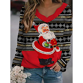 cheap -Women's Christmas T-shirt 3D Cat Graphic Long Sleeve Print Round Neck V Neck Tops Loose Cotton Casual Basic Christmas Basic Top White Black Red