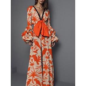 cheap -Women's Sheath Dress Maxi long Dress Orange Long Sleeve Print Print Fall V Neck Elegant Sexy Slim 2021 S M L XL XXL 3XL / Mini