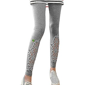 cheap -women lace crochet floral casual pant cropped full legging fft241lgry