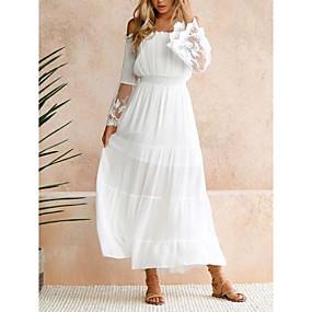 preiswerte -Damen Swing Kleid Maxikleid - Langarm Volltonfarbe Spitze Patchwork Frühling Schulterfrei Freizeit Ausgehen Schlank 2020 Weiß S M L XL