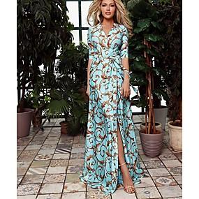 cheap -Women's Swing Dress Maxi long Dress Light Blue Long Sleeve Floral Print Fall Spring V Neck Casual vacation dresses 2021 S M L XL