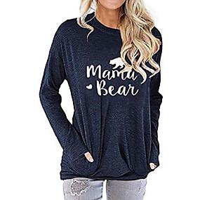 cheap -women long sleeve mama bear shirt graphic tops mom tshirts loose pullover (navy, s)