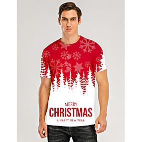 preiswerte -Herren T-Shirt 3D-Druck Grafik 3D Buchstabe Druck Kurzarm Weihnachten Oberteile Rot / Weiß
