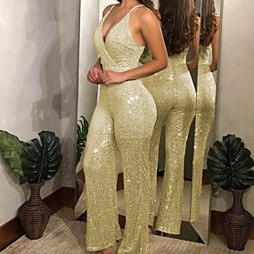 cheap -Women's Ordinary Gold Silver Jumpsuit Solid Colored Backless Patchwork
