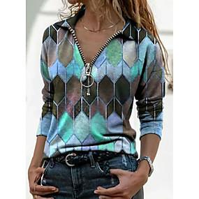 cheap -Women's T-shirt Color Block Graphic Prints Long Sleeve Print V Neck Shirt Collar Tops Basic Basic Top Blue Purple Orange