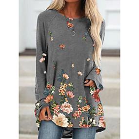 preiswerte -Damen T-Shirt Kleid Minikleid Langarm Blumen Patchwork Druck Herbst Übergrössen Freizeit 2021 Blau Khaki Grau S M L XL XXL 3XL 4XL 5XL