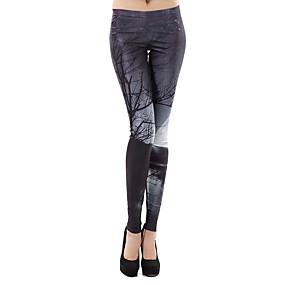 preiswerte -Damen Sport Comfort Skinny Fitnessstudio Yoga Leggins Hose Mit Mustern In voller Länge Druck Hohe Taillenlinie Dunkelgray