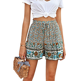 cheap -Women's Basic Breathable Slim Daily Shorts Pants Floral Short High Waist White Blue Red