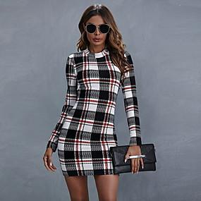 cheap -Women's Sheath Dress Short Mini Dress - Long Sleeve Plaid Fall Elegant Slim 2020 Black S M L XL