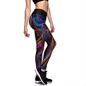 preiswerte -Damen Sport Comfort Fitnessstudio Yoga Leggins Hose Gestreift Mit Mustern Knöchellänge Druck Schwarz