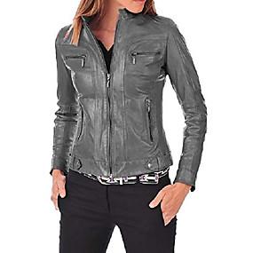 preiswerte -Damen Lederjacke Bomber Biker Motorrad echte weiche Lammfell Lederjacke für Damen grau