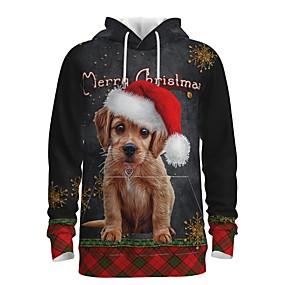 preiswerte -Herren Pullover Hoodie Sweatshirt Hund Grafik 3D Vordertasche Mit Kapuze Weihnachten Alltag 3D-Druck 3D-Druck Weihnachten Kapuzenpullover Sweatshirts Langarm Grau