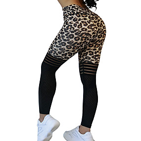 cheap -Women's Sporty Comfort Skinny Gym Yoga Leggings Pants Leopard Polka Dot Striped Ankle-Length Patchwork Print High Waist Black