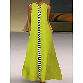 preiswerte -Damen Swing Kleid Maxikleid Ärmellos Druck Patchwork Sommer heiß Freizeit Retro Urlaubskleider Baumwolle 2021 Schwarz Rote Gelb M L XL XXL 3XL 4XL
