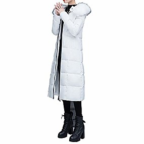 cheap -women's winter windproof thickened long down alternative coat with faux fur hood white