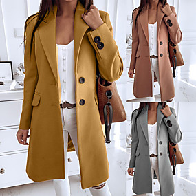 cheap -Women's Fall & Winter Trench Coat Long Solid Colored Daily Yellow Camel Gray S M L XL